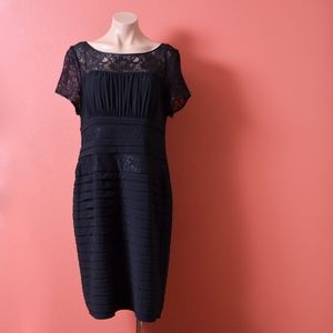 Adrianna Papell Black Lace Layered Midi Dress 14